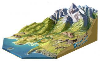 Ilustración curso de un rio