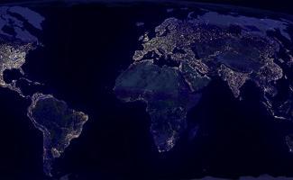 mapa la tierra noche